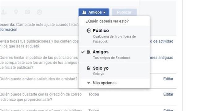 Quién puede ver qué publicación en Facebook