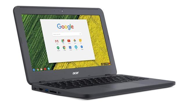 Un Acer Chromebook 11 N7, pensado para uso industrial, con una carcasa resistente a golpes, caídas y líquido, y un hardware con una pantalla de 11,6 pulgadas (1366 x 768 pixeles), 4 GB de RAM, un chip Celeron de doble núcleo, y 12 horas de autonomía. Su precio base es de 230 dólares en EE.UU.