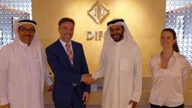 El CEO de Dubai DIFC, Saleh Al Akrabi, el Director General de investBA, Alejo Rodriguez Cacio, el Senior Representative de DIFC MENA Sadeq E. Mohamed y la Gerente de investBA, Josefina Gonzalez Martinez