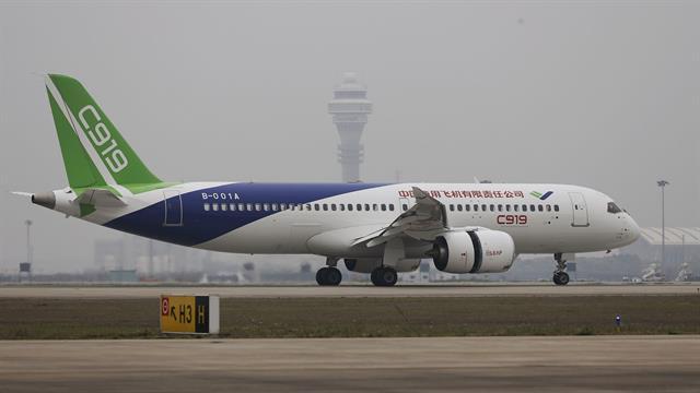 El C919 equivale a un Airbus 320 o un Boeing 737