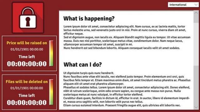 En las pantallas de las computadoras infectadas aparecía este mensaje, en el que los cibercriminales pedían un rescate