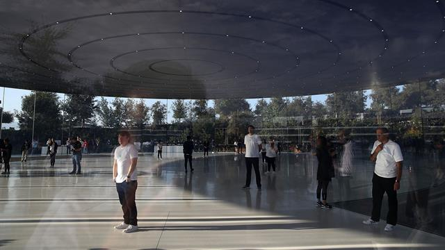 Una vista del auditorio circular de Apple