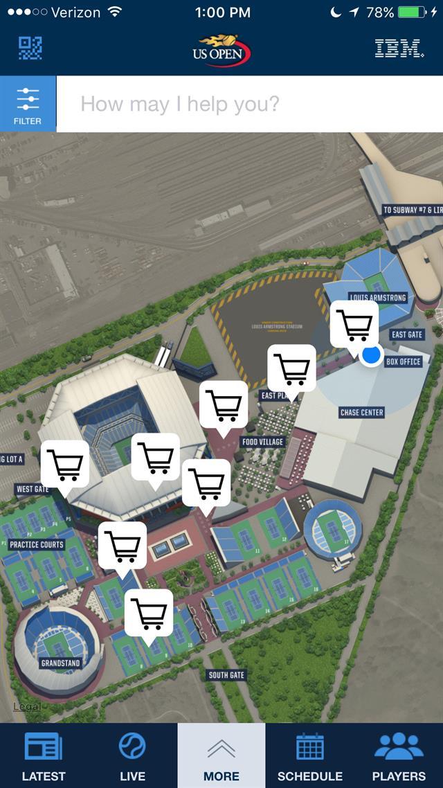 Mapa interactivo del predio donde se jugó el US Open