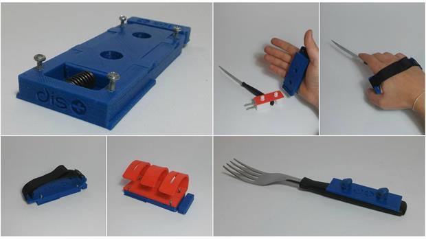 La base se ajusta a la mano y hay múltiples piezas que pueden encastrarse para ayudar a su manipulación