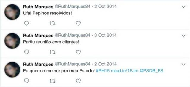 """Usaban fotos robadas en los perfiles. En esta cuenta de Twitter, el """"activador"""" expresó opiniones sobre el político Paulo Hartung"""