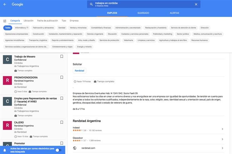 Así se ven los resultados de búsqueda de ofertas de trabajo en Google Empleos en la Argentina